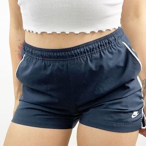 Nike Athletic Shorts Striped Mid Rise Navy Blue S
